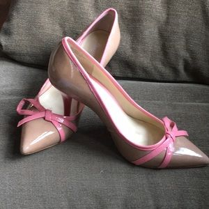 Tan and Pink patent Leather Shoe
